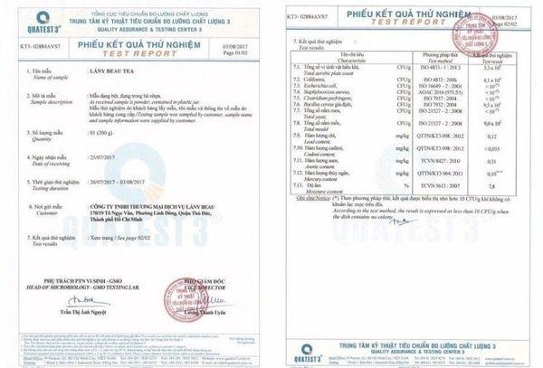 Kết quả kiểm nghiệm đạt tiêu chuẩn của viện pasteur Hồ Chí Minh